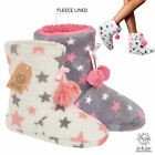 New Ladies Girls Womens Soft Grey White Hearts Warm Fleece Slipper Boots Booties