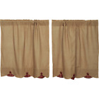 Natural Burlap W/Burgundy Checks Cotton Country Window Cafe Tiers (2) Sizes