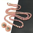 Vintage LONG Pink MOONGLOW LUCITE Bead Necklace & Button Clip Earring SET FF252i