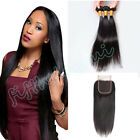 "4x4"" Lace Frontal w/Peruvian 8A Straight Virgin Human Hair Extensions 300G"