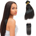 "Brazilian 4x4"" Straight Lace Frontal w/8A Virgin Human Hair Weft 300G/3 Bundles"