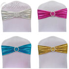 1/10/50/100 Lycra Chair Cover Sashes Bow with Diamond Ring Chair Sash Band Decor