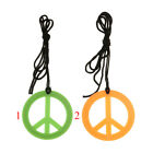 Novelty Peace Sign Symbol Pendent Cord Rope 70s Hippie Boho Necklace Jewelry