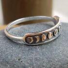 Handmade Vintage Silver Moon Phase Finger Ring Moon Band Jewelry Size 7-10