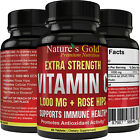 Extra Strength Potent Vitamin C 1,000 mg with Rose Hips, All Natural, Non-GMO