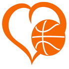 Basketball Heart Vinyl Decal Sticker Home Wall Cup Car Decor Choose Size Color