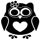 Owl Heart Vinyl Decal Sticker Bird Home Wall Cup Car Decor Choose Size Color m