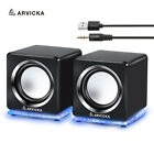 Wired Mini Computer Speakers LED USB 2.0 PC Speakers for Laptop Desktop Phone 6W
