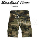 Mens Military CAMO CARGO SHORTS Camouflage BERMUDA Work Army Loose Baggy Pants
