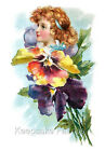 Fantasy Pansy Girl Reproduction Quilt Block FrEE ShiPPinG WoRld WiDE (F1