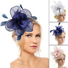 Flower and Feather Comb Fascinator Wedding Races Proms Bridal Hair Accessory C1