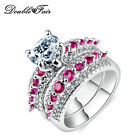 Clear Heart Shape CZ Stone Rings Set White Gold Plated Party Jewelry for Women