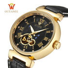 Mechanical Mens Watch Skeleton Wristwatch Men Watches Leather Band Wrist Watch