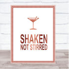 Rose Gold James Bond Martini Shaken Not Stirred Quote Wall Art Print £4.99 GBP on eBay