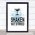 Blue James Bond Martini Shaken Not Stirred Quote Wall Art Print £19.95 GBP on eBay