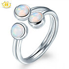 3-stone Genuine Fire Opal Solid 925 Sterling Silver Ring for Women Size 6 7 8 9