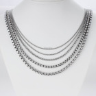 Wholesale Mens Boys Silver Stainless Steel Box Chain Necklace Hot Sell Gift