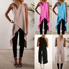 Fashion Womens Split Long Tops Side Slit Midi Tunic Sleevele