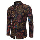 blouse Button Up Summer slim fit men's clothing Vintage shirts Casual Shirts