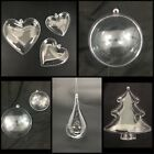 10 X CLEAR IRIDESCENT CHRISTMAS BAUBLES DECORATION ORNAMENT WEDDING CRAFT