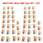 Brand New AT&T Micro GSM SIM Card Never Activated 3FF 4G LTE Prepaid Lot Option