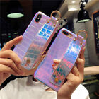 Fashionable Laser Wristband soft Leather case Cover for iPhone X 8 7 6S Plus