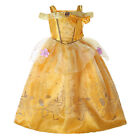 Girls Belle Costume Beauty and the Beast Princess Kids Cosplay Party Fancy Dress
