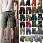 Men Summer Combat Camo Cargo Work Shorts Pants Casual Army Half Cropped Trousers