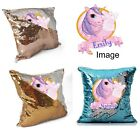 Personalised Unicorn Sequin Cushion Magic Reveal Mermaid Champagne Gold Silver