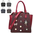 Ladies Designer Badge Charms Tweed Handbag Shoulder Bag Bucket Bag MF3687