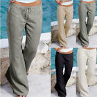 WOMEN LINEN TROUSERS CASUAL SUMMER PANTS ELASTICATED WAIST B