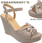 Ladies High Heel Wedge Suede Cloth Knot Pearl Fixed Ankle Straps Slipper Sandals