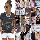 US Plus Size Womens Print T-Shirt Short Sleeve Summer Casual