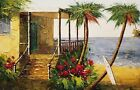 Tropical Cabin,   24x36,  100% Hand Painted Oil Painting on Canvas,