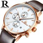 Men Analog Quartz Wrist Watch Business Small Dials Stop Date Leather Band Strap