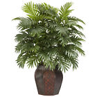"Artificial 38"" Areca Palm Tree Silk Plant with Burgundy Weave Vase"
