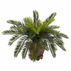 "Artificial 15"" Cycas Palm Plant with Hexagon Burgundy Wood Vase"