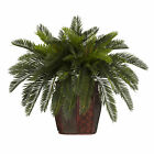 "Artificial 19"" Double Cycas Palm Plants with Burgundy Weave Floral Vase"