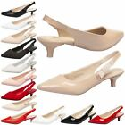 WOMENS SHOES LADIES PUMPS POINTED TOE KITTEN HEEL SLINGBACK WORK OFFICE SIZE NEW