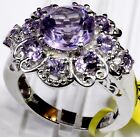 Rose De France Amethyst Ring Platinum Overlay Sterl Silver (Size 9) 4.35 Cts