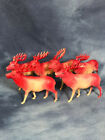 Vintage Lot of Celluloid Reindeer Christmas Decorations, Thin Early Plastic
