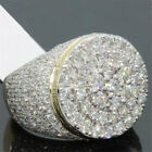 18K Gold CLUSTER ICED OUT Lab Simulated Diamond Band MICROPAVE Mens Pinky Ring
