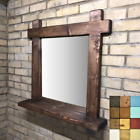 Wood Mirror With Shelf Rustic Farmhouse Chunky Wooden Feature Piece Crossed Ends