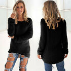 Womens Long Sleeve Jumper Tops Knitted Sweater Loose Mini T Shirt Dresses Winter