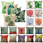 Outdoor Floral Leaf Cotton Cushion Garden Waterproof Pillow Case Cover Decor