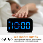 US Large LED Digital Alarm Snooze Clock Voice Control Time Display 3.5 Screen