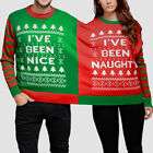 Christmas Couples Momola Naughty And Nice Double Xmas Jumper Sweatshirt Fun UK
