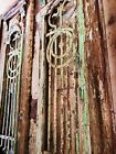 Antique Solid Wood French Doors With Wroght Iron