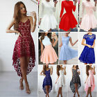 Womens Evening Formal Party Prom Bridesmaid Short Mini Dress Lace Tunic Swing