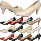 NEW WOMENS LOW MID KITTEN HEELED SHOES CASUAL PARTY LADIES HEELS STYLE SIZE
